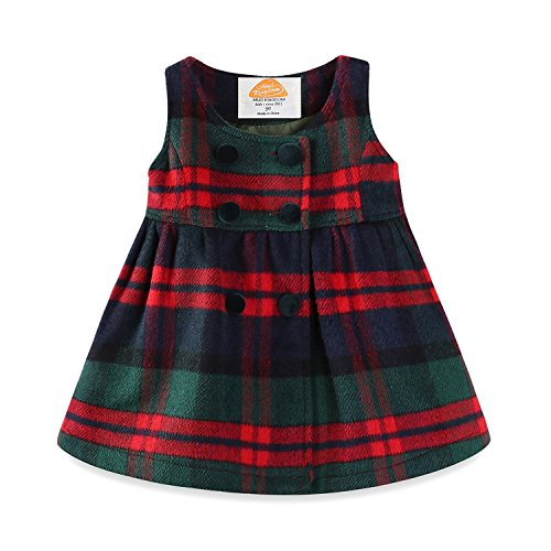 Girls Holiday Plaid Dress - Mud Kingdom Toddler Girl Dresses Green Plaid Winter Wool 4T