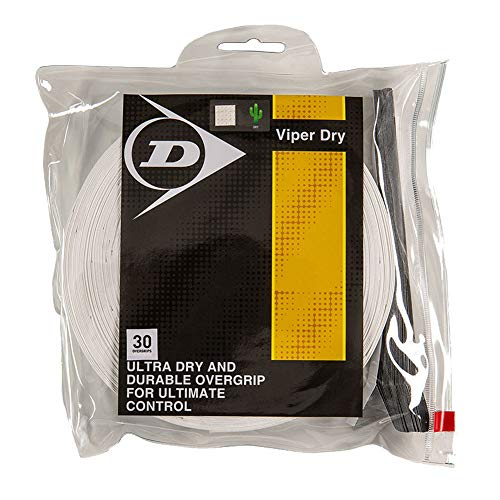 DUNLOP Viper Dry (30-Pack) Tennis Overgrip (White)