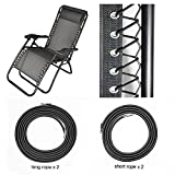 Universal Replacement Cords for Zero Gravity Chair(4 Cords), Replacement Laces for Zero Gravity Chairs, Zero Gravity Recliner Repair Tool for Lounge Chair, Bungee Chair Cord(Black) (4 Laces)