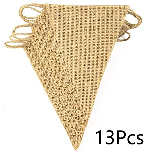 ThxToms 13Pcs Burlap Banner, DIY Decoration for Wedding and Party, 10feet