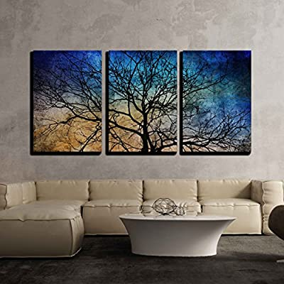3 Piece Canvas Wall Art - Black Tree Branches on Abstract Colorful Background - Modern Home Art Stretched and Framed Ready to Hang - 24