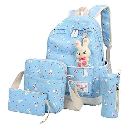 Aitena Canvas Shoulder School Bag Backpack+Shoulder bag+ Handbag+Pencil case (Sky - Yuba Blue