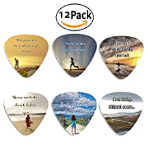 Guitar Picks with Inspirational Quotes (12 Pack)