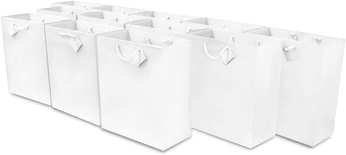 """6x7.5x3"""" 12 Pcs. Small White Premium Quality Paper Gift Bags with Handles, Party Favor Bags for Birthday Parties, Weddings, Holidays and All Occasions"""