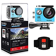 AKASO EK7000 4K WIFI Sports Action Camera Ultra HD 12MP Waterproof DV Camcorder 170 Degree Wide Angle 2 Inch LCD Screen w/ 2.4G Wireless Remote Control/ 2 Rechargeable Batteries/ 19 Mounting Kits-Blue