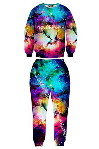 Pink Queen® Woman Space Cloud Universe Printed Galaxy Sweatpant Sets(Blue,S)