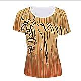 Women's T-Shirt,Bushes Camouflage Carnivore Predator Feline Africa,Pictures Print