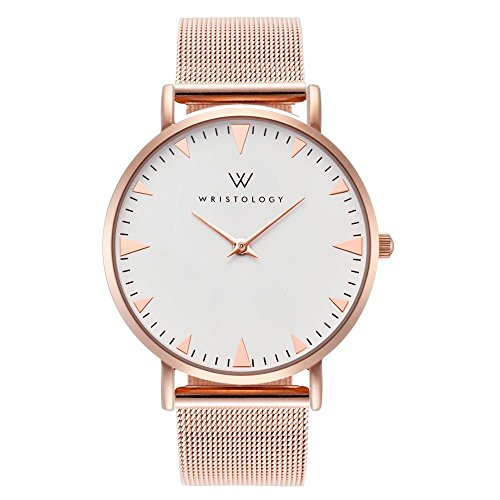WRISTOLOGY Stella Womens Rose Gold Minimalist Wrist Watch Metal Mesh Easy Change Band