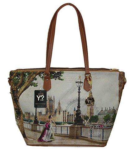 BORSA YNOT H397 NEW SHOPPING BAG GRANDE STAMPA LONDON