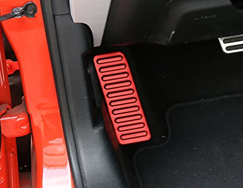 YiXunTen For Ford Mustang 2015 2016 Aluminum Alloy Red Left Size Foot Rest Kick Panel Pedal Cover Decal Trim (Mustang Ford Panel Kick)