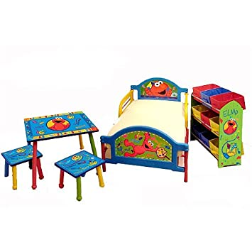 Wonderful Sesame Street Elmo Room In A Box Toddler Bed Table Storage Set