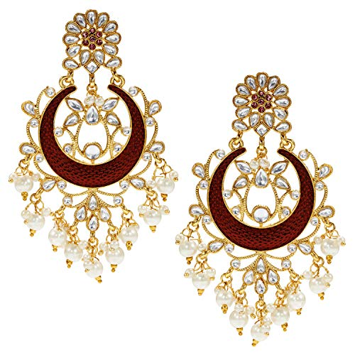 (Aheli Indian Traditional Faux Kundan Maroon Enamel Dangle Earrings Ethnic Wedding Party Wear Fashion Jewelry for Women)