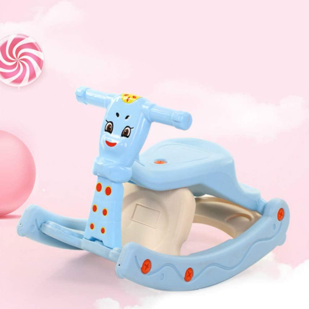 ハイチェアアジャスタブル赤ちゃん子供のロッキングチェアに座ると、缶シェイクスリー・イン・ワンロッキングチェア幼児のロッカー馬の赤ちゃんのロッカーのおもちゃ子供ロッキングアニマル,ブルー