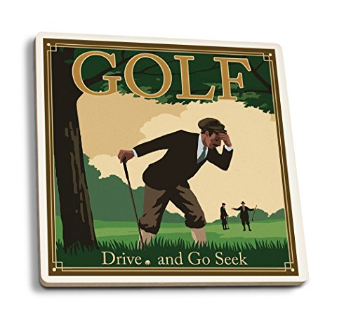 Lantern Press Golf - Drive and Go Seek (Set of 4 Ceramic Coasters - Cork-Backed, Absorbent)