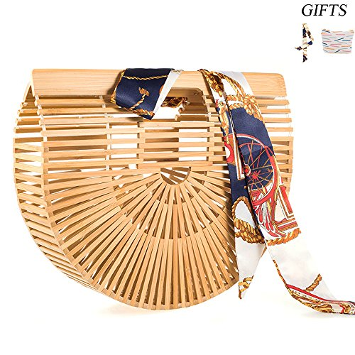 LibbyPet Bamboo Handbags for Women Handmade Bamboo Bag Summer Beach Tote bag (Sandal Wood Small)