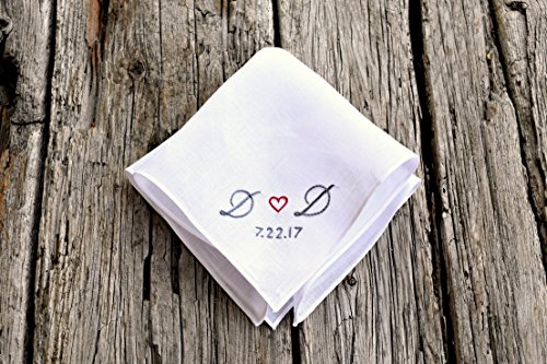 Sweetheart Handkerchief, New Couple Wedding Hankerchief with Date, Wedding Gift, Bride Hankerchief, Groom Pocket Square, Wedding Day Hankie ()