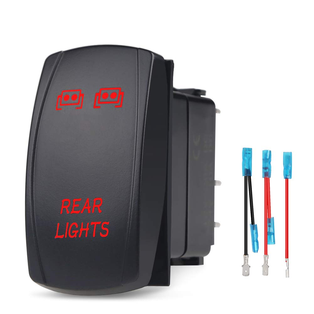 Waterwich 5 Pin Rear Lights Illuminated Rocker Toggle Switch Wiring Spst Waterproof Jumper Wires Set Dc 20a 12v 10a 24v Black Shell On Off Auto Truck