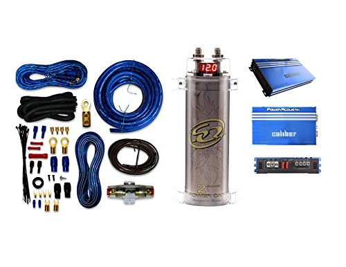 Digital Power Capacitor Kit - 4 Gauge Amp Kit Amplifier Install Wiring & 2 Farad Digital Capacitor, 3000W Peak with Power Acoustik RE1.3000D 3000Watts Car Subwoofer Amplifier