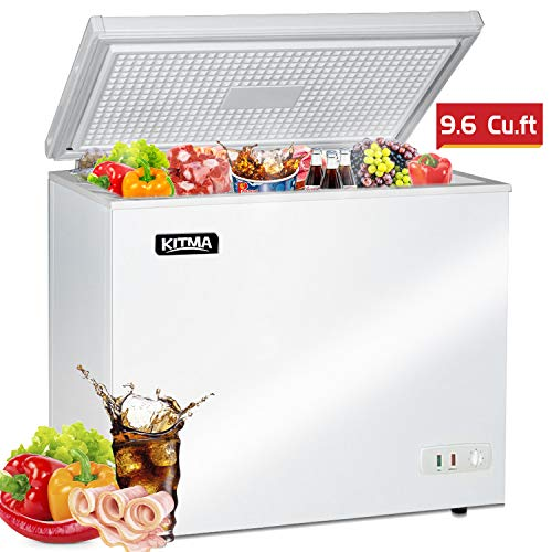 Commercial Top Chest Freezer – Kitma 9.6 Cu. Ft Deep Ice Cream Freezer with 2 Storage Baskets, Adjustable Thermostat, Lock,Rollers, White