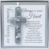 Always in Your Heart Sympathy Sentiment with Grey Mosaic Cross - Memorial/Remembrance/ Bereavement Gift