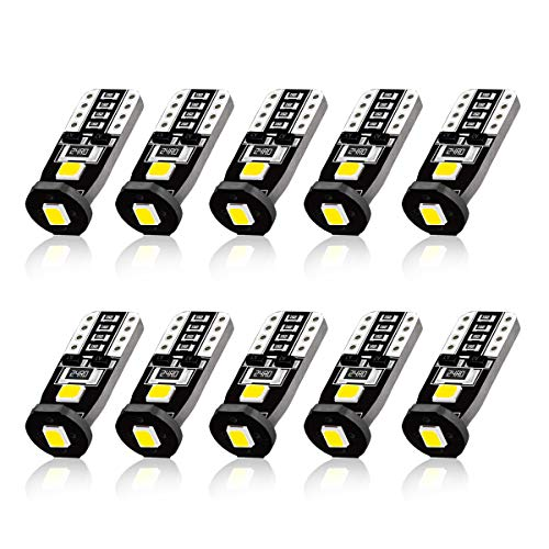 GBAuto LED-10 Extremely Bright LED Bulbs for Car Interior Dome Map Door Courtesy License Plate Lights Compact Wedge 194 168 175 2825 T10 Xenon White-10pack, 10 pack