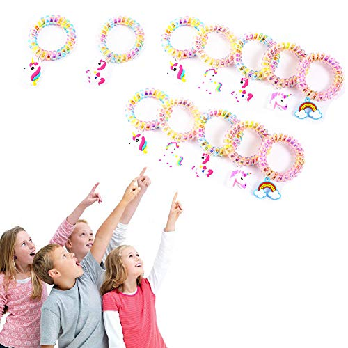 BOZOA Unicorn Bracelets Wristband (12 Pack) Dazzle Rainbow Elastic Unicorn Hair Ties Kids Girls Birthday Party Favors Supplies Novelty Gifts Prizes Toys ()