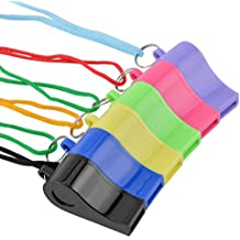 Ktrio Plastic Coach Whistle, Sports Referee Whistles with Lanyard, Safety Emergency Whistle for Football, Soccer, Sports Events, Training, Assorted Color, 6 Pack, Used as Children, Kids Toy Whistle