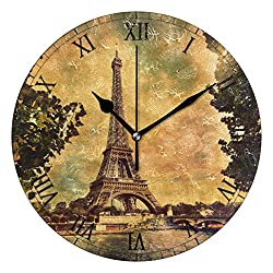 WIHVE Round Wall Clock Eiffel Tower in Paris Retro Style Home Art Decor Non-Ticking Numeral Clock for Home Office