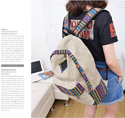 Malloom® mochila de lona floral retro étnico raya hombro escuela bolsa de viaje (negro) beige