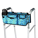 SupreGear Walker Bag, High Quality Folding Walker Basket Organizer Pouch Tote for Any Walker Style Rollator and Wheelchair (Blue)