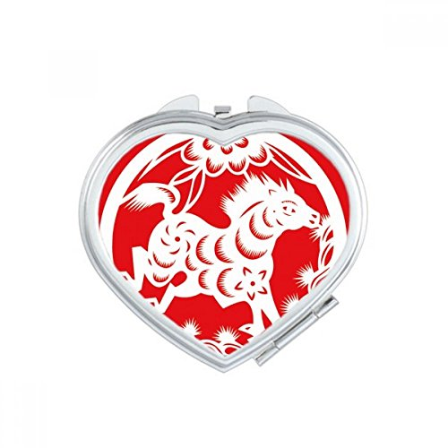 Paper-cut Horse Animal China Zodiac Art Heart Compact Makeup Mirror Portable Cute Hand Pocket Mirrors Gift by DIYthinker