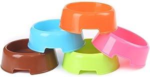 5Pcs/Set Plastic Candy Color Pet Cat Dog Puppy Rabbit Animal Practical Food Water Bowl-Random Color