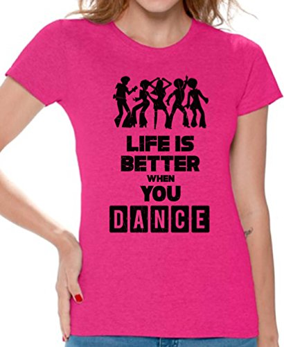 Price comparison product image Awkward Styles Women's Life is Better When You Dance Funny T Shirt Tops Pink XL