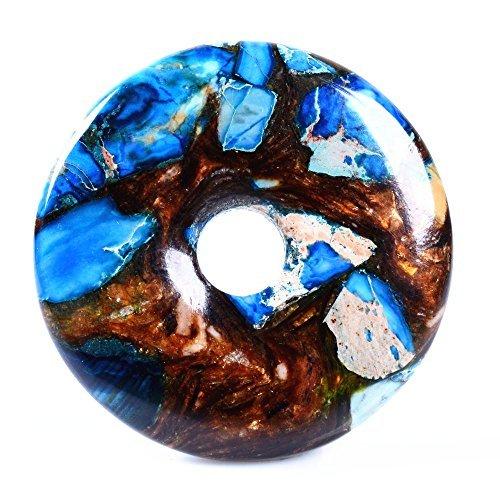 (40mm Beautiful Gemstone Jasper Donut Pendant Bead DIY Jewelry Accessories For Necklace (Copper Blue Sea Sediment)