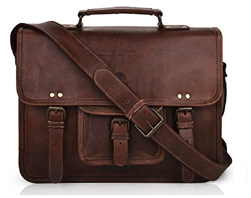 15 Inch Leather Vintage Rustic Crossbody Messenger Courier Satchel Bag Gift Men Women ~ Business Work Briefcase Carry Laptop Computer Book Handmade Rugged & Distressed ~ Everyday Office College School by RusticTown