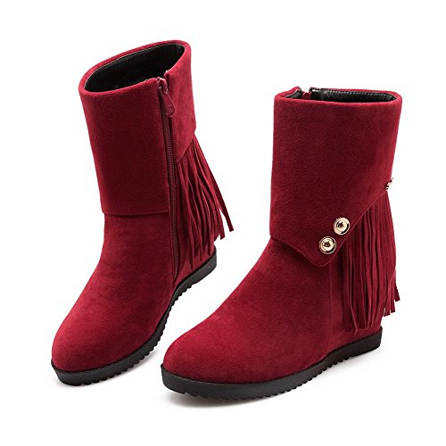 Zipper Toe AmoonyFashion Fringed Boots Kitten Frosted Closed Women's Round Heels Claret SY8wHYq