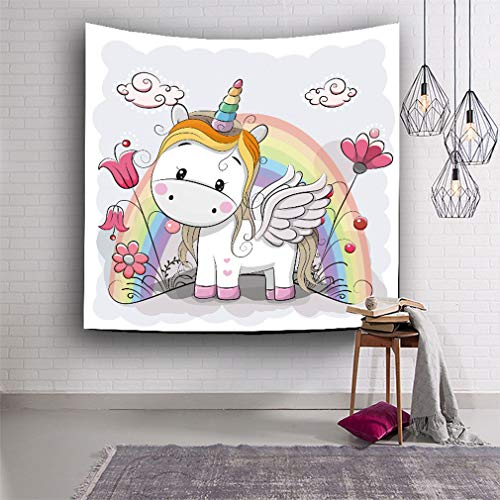 Baisheng Simple Cute Unicorn Graffiti Tapestry,Hippie Mandala Tapestry, Wall hanging Tapestry For Decorating Bedroom & Living Room & Dorm (79x59 Inch/203x150 CM)