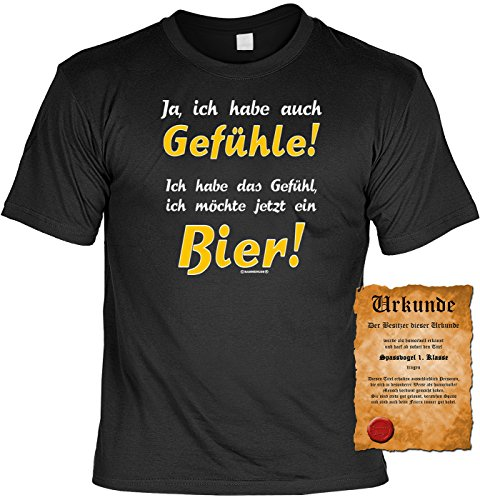 T-Shirt mit Urkunde - Ich habe das Gefühl, ich möchte jetzt ein Bier - lustiges Sprüche Shirt als Geschenk für Leute mit Humor - NEU mit gratis Zertifikat!