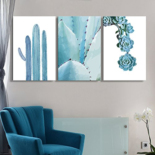 3 Panel Blue Cactus and Succulent Plants Gallery x 3 Panels