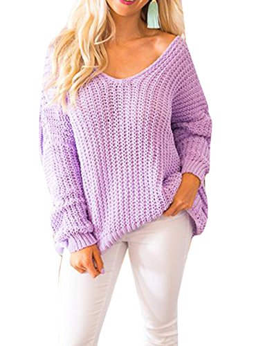 (Imily Bela Womens Cable Knit Off The Shoulder Tunic Tops Scoop V Neck Oversized Sweater Lavender)
