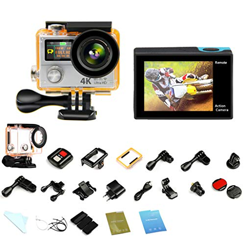 Action Cameras Coco H3R 4K WiFi Color Dual Screen 2.4G Remote Control Underwater Motion Cam - 170 Degree Ultra Wide Angle Lens - 1050MA Rechargeable Battery