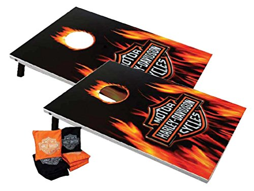 Harley-Davidson Flaming Bar & Shield Cornhole Bean Bag Toss Game 66279