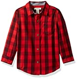 Image of Calvin Klein Little Boys' Radio Bold Check Long Sleeve Shirt with Contrast Trim, Dark Red, 5