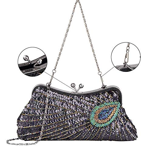 Embroidery C Women's Beaded Evening Peacock Clutch Sequins Bag Purse Rhinestone qZxY16x7