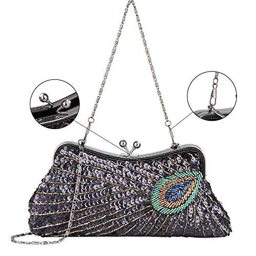 Bag Peacock Sequins Purse Evening Clutch Women's Rhinestone Beaded Embroidery C wgUZnqt