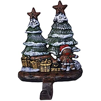 LuLu Decor, Gingerbread Stocking Holder, Decorative Christmas Hook, Beautiful Gingerbread Man with Trees and Presents Hook Made of Solid 100% cast Iron, Height 7