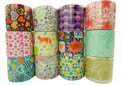 Unik Craft Duct Tape Variety Assortment 12 Count, Each Roll 1.88 Inches x 5.5 yards (Multicolored) (Decorative Tape Duct Cheap)