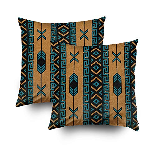 Wake Pillowcase Printed Forest - Capsceoll Christmas 2PCS tan Southwest Tribal Aztec Decorative Throw Pillow Case 20X20Inch,Home Decoration Pillowcase Zippered Pillow Covers Cushion Cover with Words for Book Lover Worm Sofa Couch