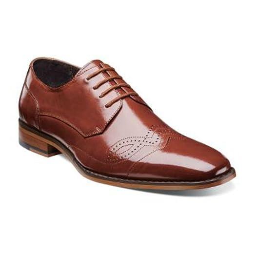 Stacy Adams Tavin Leather Cognac Oxford Modified Cap Toe Dress Shoes