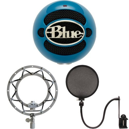 Blue Microphones Snowball (Electric Blue) - Shockmount and Pop Filter Bundle by Blue